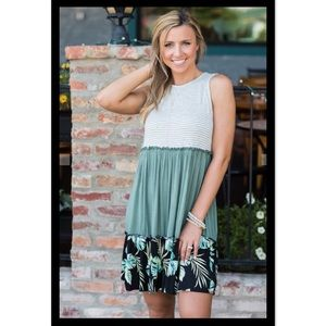 Dresses & Skirts - Tiered Sleeveless Dress In Sage - L